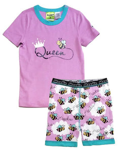 Queen Bee Pajama Set for Girls - Cotton Pajama Top and Shorts Set | Toddler-10 Yrs - Moodie