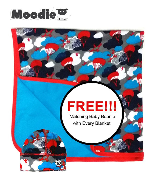 Reversible Baby Blanket | Receiving, Stroller, Nursery, Crib & Tummy-Time | 100% Cotton 2 Layer Infant & Toddler Bedding - Moodie