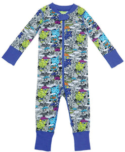 Rollin' with my Trollies 2 Way Zipper Onesies for Baby Boys - Sleep N Play Footless Pajamas | Infant to 24 Months - Moodie