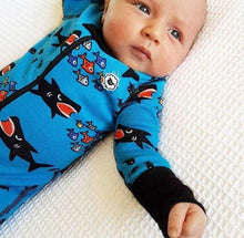 Shark Attack 2 Way Zipper Onesies for Baby Boys - Sleep N Play Footless Pajamas | Infant to 24 Months - Moodie