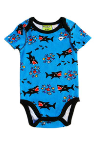 Shark Attack 3 Snap Bodysuit for Baby Boys - Sleep N Play Pajamas & Onesie | Infant to 24 Months - Moodie