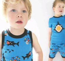 Shark Attack Pajama Set for Boys - Cotton Pajama Top and Drop Crotch Shorts Set for Boys | Toddler-10 Yrs - Moodie