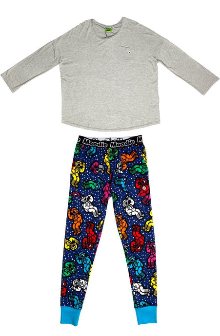 Spaceman Pajama Set for Women | Bamboo Pajama Top & Pants Set  - Winter Sleepwear / Loungewear - Moodie