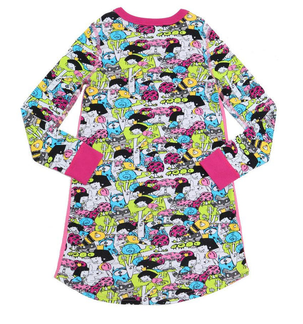 Thief in the Night Long Sleeve Pajama Dress for Girls - Cotton Night Gown | Toddler-10 Yrs - Moodie