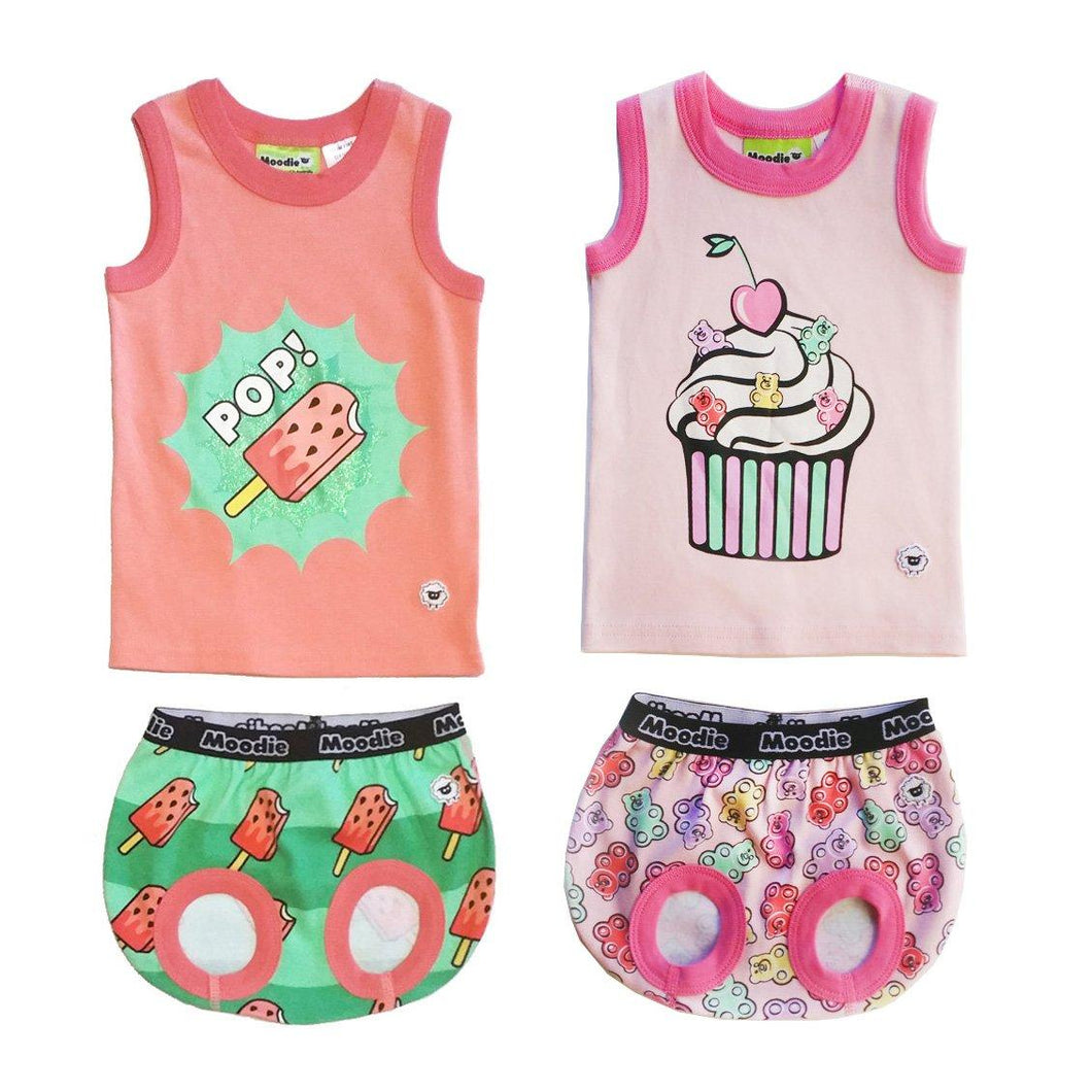 TWO SET PACK:  Cotton Tank Top & Bloomer Set for Baby/ Girls Pajamas (Infant - 24 Months Toddler) - Moodie