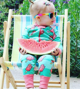 Watermelon POP! 2 Way Zipper Onesies for Baby Girls - Sleep N Play Footless Pajamas | Infant to 24 Months - Moodie