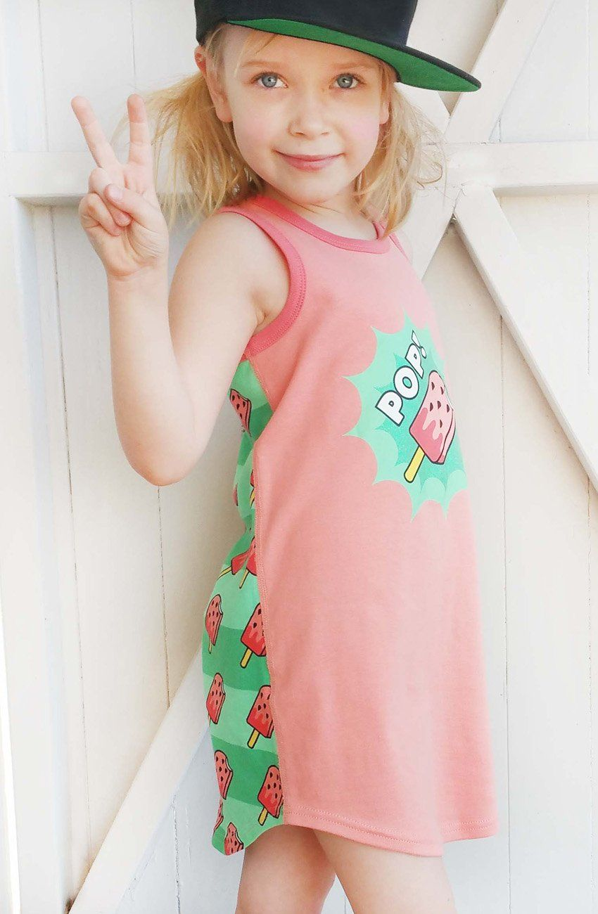 Watermelon POP! Pajama Dress for Girls - Cotton Night Gown | Toddler-10 Yrs - Moodie