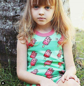 Watermelon POP! Pajama Set for Girls - Cotton Pajama Tank Top and Shorts Set | Toddler-10 Yrs - Moodie
