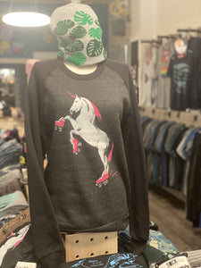 Sweatshirt: Roller Skating Unicorn - Colorblocked