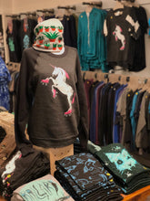 Load image into Gallery viewer, Sweatshirt: Roller Skating Unicorn - Colorblocked