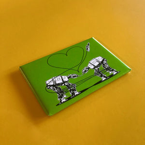 Magnet: 3x2 Inch - Love AT-AT First Sight - Green