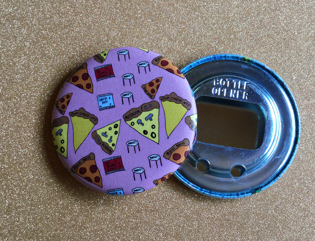 Bottle Opener Keychain: Pizza Party