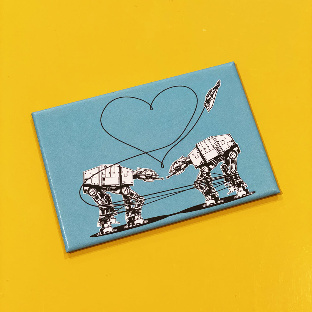 Magnet: 3x2 Inch - Love AT-AT First Sight - Blue