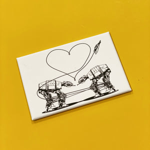 Magnet: 3x2 Inch - Love AT-AT First Sight - B&W