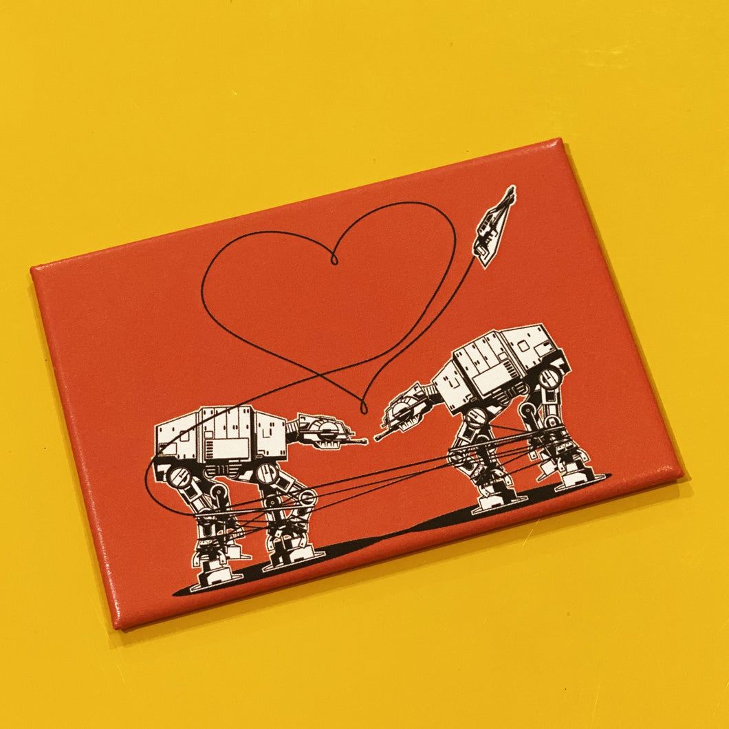 Magnet: 3x2 Inch - Love AT-AT First Sight - Orange