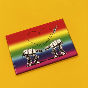 Magnet: 3x2 Inch - Love AT-AT First Sight - Rainbow
