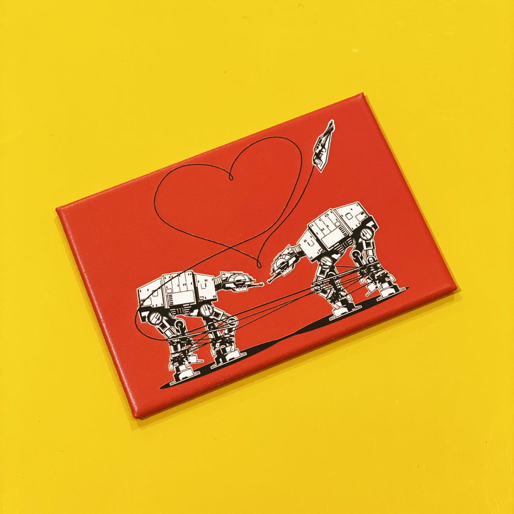 Magnet: 3x2 Inch - Love AT-AT First Sight - Red