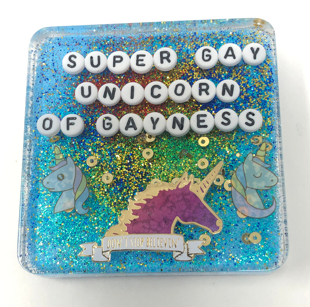 Super Gay Unicorn Of Gayness - Biggie Small Shower Art - READY TO SHIP