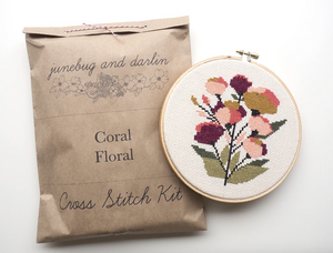 Cross Stitch Kit: Coral Floral