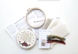 Cross Stitch Kit: Pronoun Them Them Their
