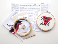 Load image into Gallery viewer, Cross Stitch Kit: Queer As Fuck - Cream