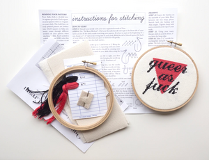 Cross Stitch Kit: Queer As Fuck - Cream