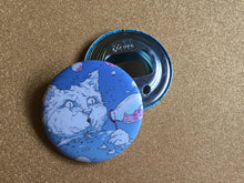 Load image into Gallery viewer, Bottle Opener Keychain: Bubble Cat Blue
