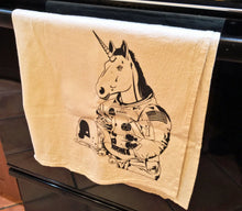 Load image into Gallery viewer, Kitchen Towel: Astronaut Unicorn - B&W
