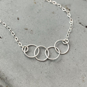 Quattro Bracelet - handmade interlocking four circle chain bracelet - Foamy Wader