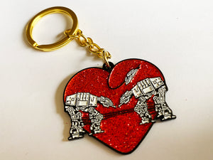 Keychain: Love AT-AT First Sight - Red Glitter