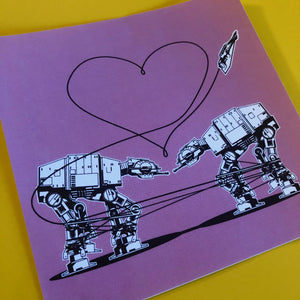 4x4 Sticker - Love AT-AT First Sight - Pink - Large Sticker