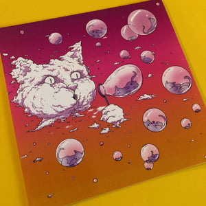 4x4 Sticker - Bubble Cat - Sunset