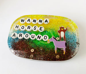 Wanna Horse Around - Shower Art - READY TO SHIP