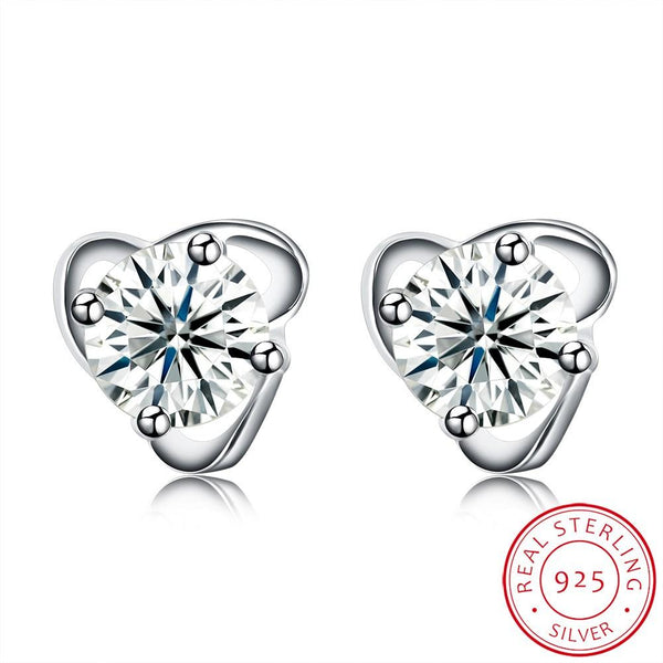 0.5ct. (5mm) Round Cubic Zirconia 925 Sterling Silver 4 Prong Unique Triangle Stud Earrings - Del Valle