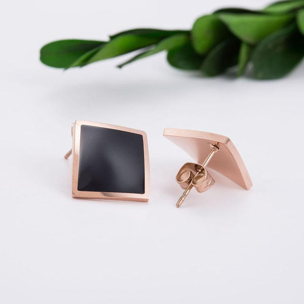 Stylish Black Rose Gold Diamond Shaped Surgical Steel Earrings - Del Valle