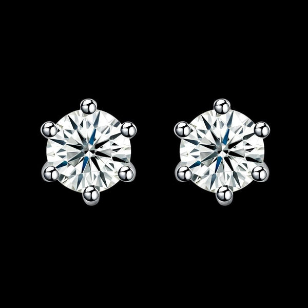 0.5ct. (5mm) Round Cubic Zirconia 925 Sterling Silver 6 Prong Stud Earrrings - Del Valle