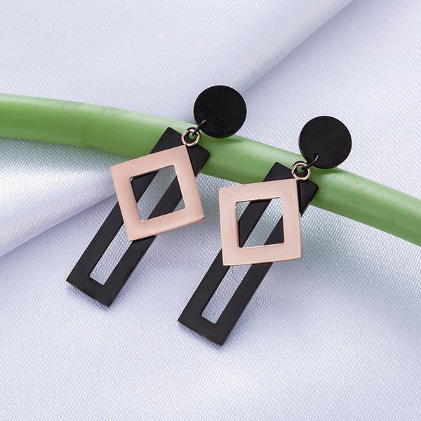 Exquisite Black Rectangle Rose Gold Sqaure Surgical Steel Earrings - Del Valle
