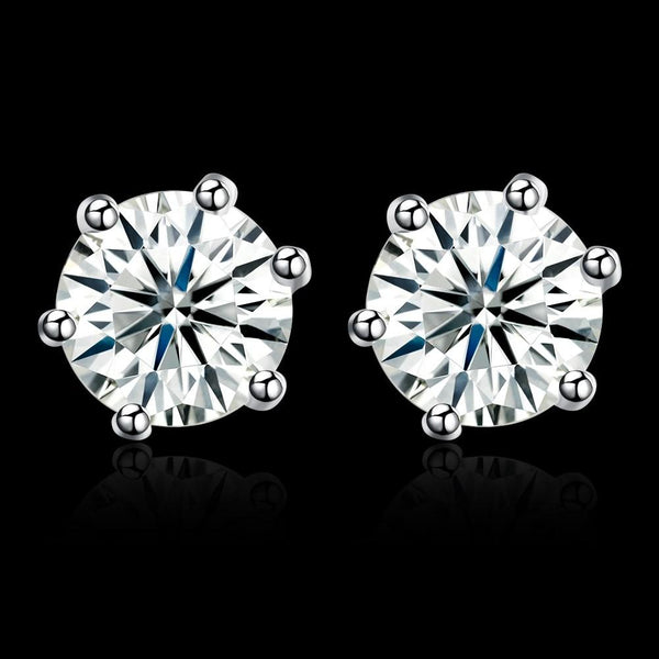 0.84ct. (6mm) Round Cubic Zirconia 925 Sterling Silver 6 Prong Stud Earrrings - Del Valle
