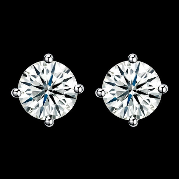 1.3ct. (7mm) Round Cubic Zirconia 925 Sterling Silver 4 Prong Stud Earrrings - Del Valle