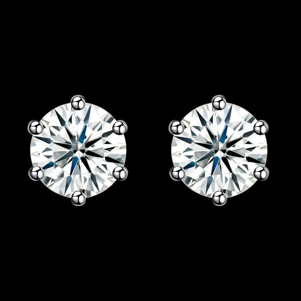 1.3ct. (7mm) Round Cubic Zirconia 925 Sterling Silver 6 Prong Stud Earrrings - Del Valle