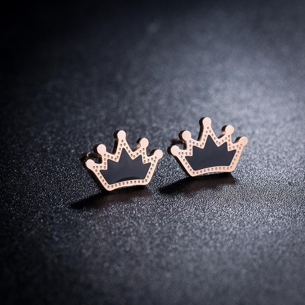 Queenly Rose Gold Crown Surgical Steel Earrings - Del Valle
