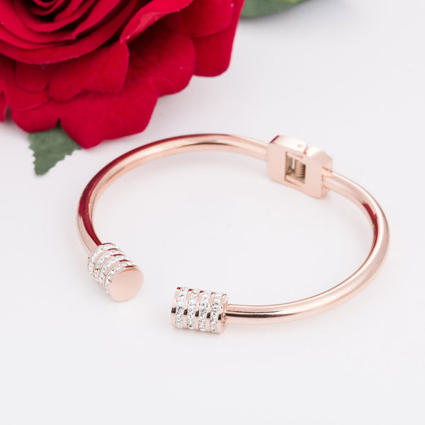 Everly Rose Gold Stainless Steel Zirconia Bangle - Del Valle