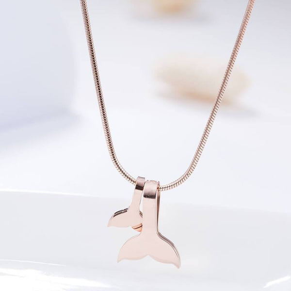Rose Gold Mermaid Tail Hypoallergenic Stainless Steel Dainty Necklace - Del Valle
