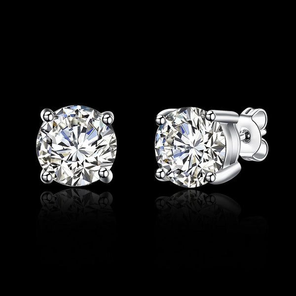 2ct. (8mm) Round Cubic Zirconia 925 Sterling Silver 4 Prong Stud Earrrings - Del Valle