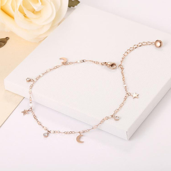 Rose Gold Moon & Star Surgical Stainless Steel Anklet - Del Valle