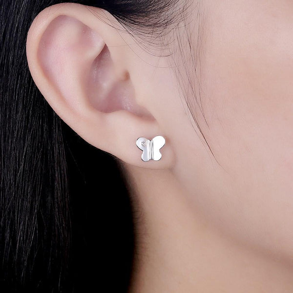 925 Sterling Silver Butterfly Zircon Stud Earrings - Del Valle