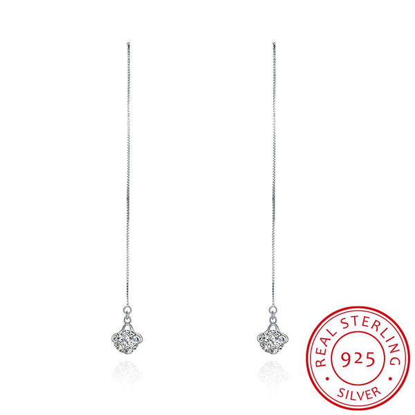 925 Sterling Silver Cubic Zirconia Star Long Drop Stud Earrings - Del Valle