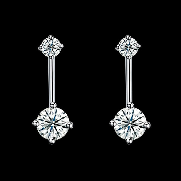 925 Sterling Silver Double Cubic Zirconia Drop Stud Earrings - Del Valle