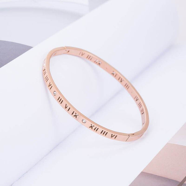 Aelia Rose Gold Stainless Steel Bangle - Del Valle