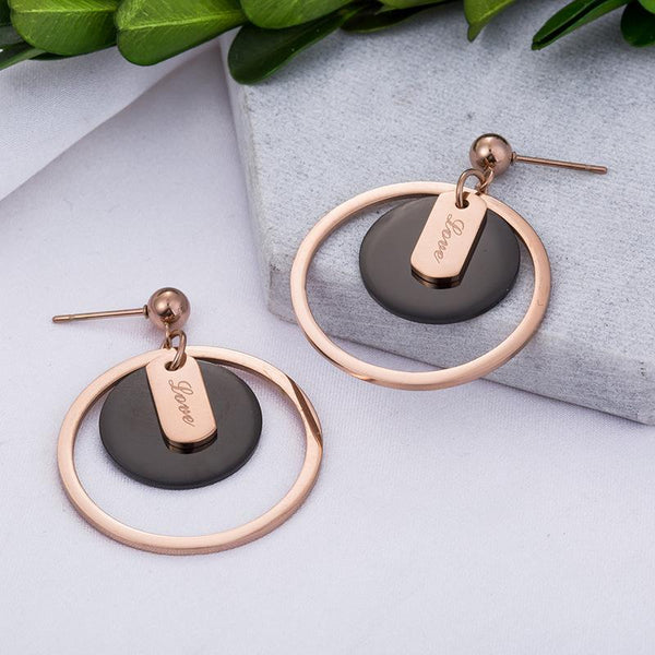 Big Rose Gold Small Black Cricle Love Surgical Steel Earrings - Del Valle